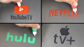 TV Service Brand Logo Pancake Art   YOUTUBE TV, NETFLIX, HUIU, APPLE TV+