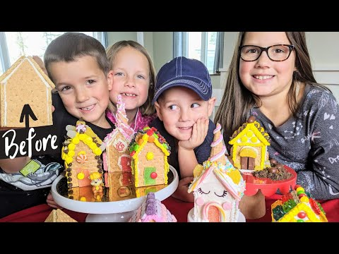 EASY Graham Cracker Gingerbread Houses! Unicorns, Legos & Paw Patrol! New Christmas Tradition