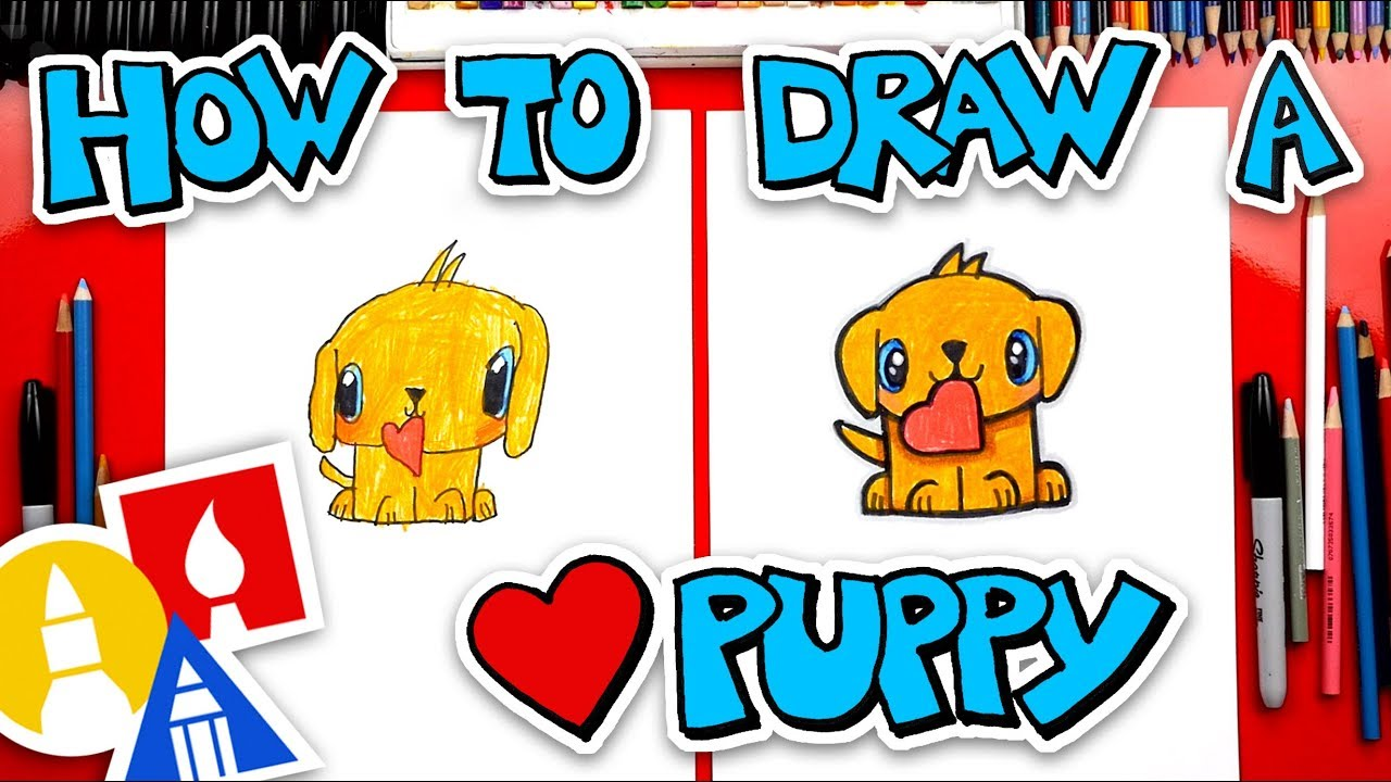 How To Draw A Valentines Golden Retriever Puppy + Spotlight