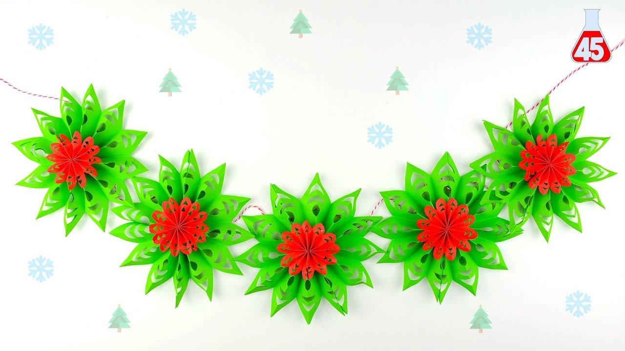 Decorazioni Natalizie Con La Carta Fai Da Te.Festone Di Carta Per Natale Fai Da Te Decorazioni Natalizie Youtube