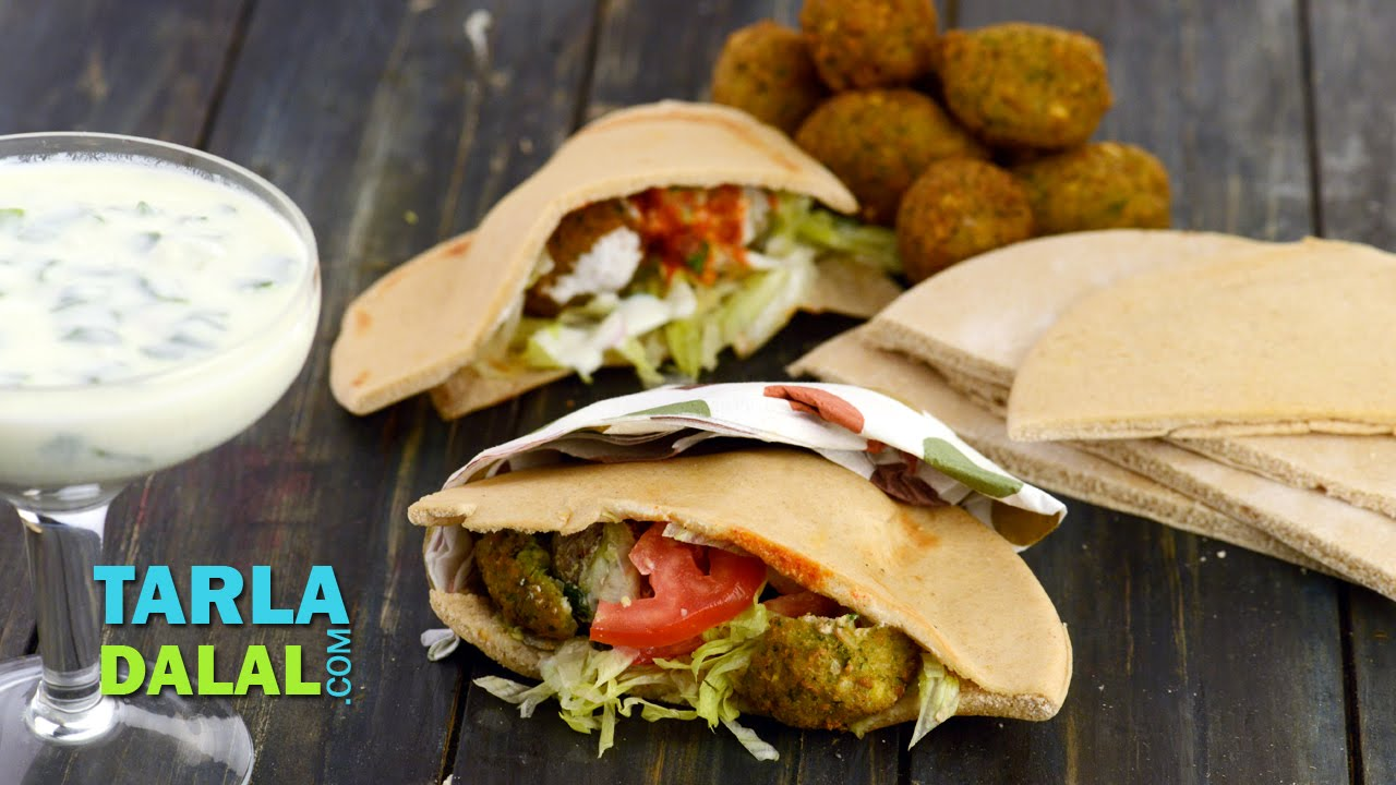 Falafel Lebanese Falafel Stuffed In Pita Bread By Tarla Dalal Youtube
