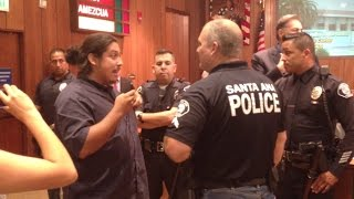 Intense confrontation over anti-police hat at Santa Ana council meeting