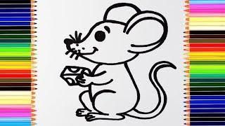 как нарисовать мышку /  мультик раскраска мышь для детей / учим цвета