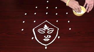 Durga Maa Face Rangoli Designs By 7X3 Dots For Dussehra Freehand Muggulu Designs New Rangoli Ideas