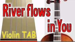 River flows in You - Violin - Play Along Tab Tutorial