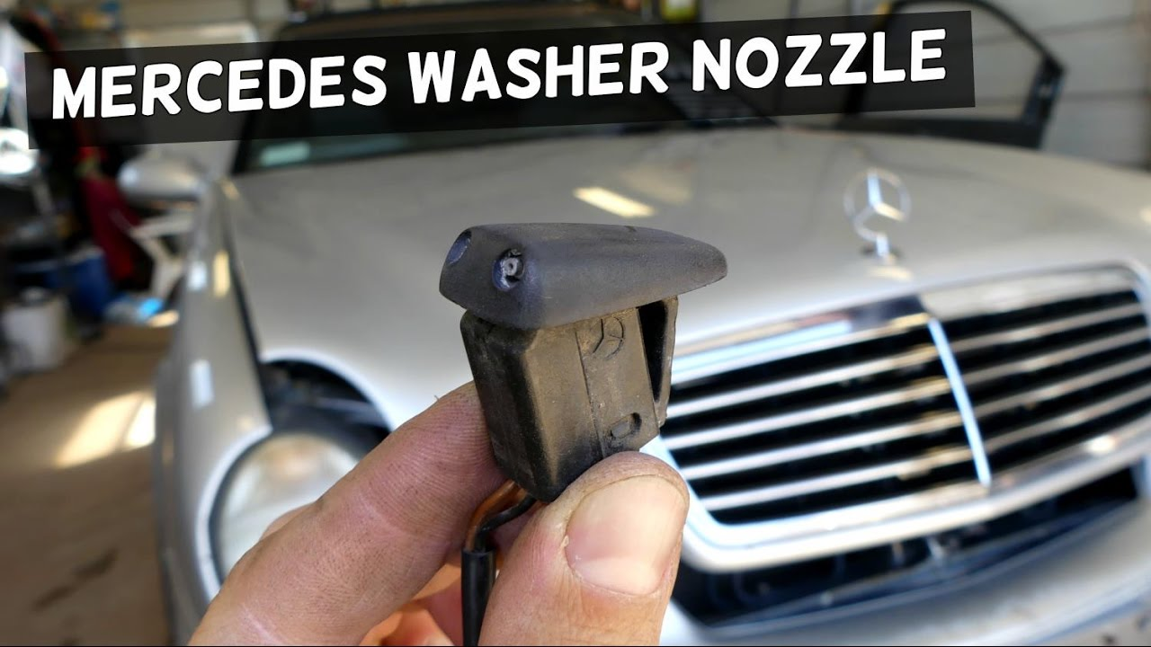 mercedes windhsield washer nozzle sprayer removal replacement