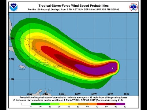 HURRICANE WATCH LEEWARD ISLANDS IRMA A BIT STRONGER ON RECON AFTERNOON WEATHER MODEL ANALYSIS