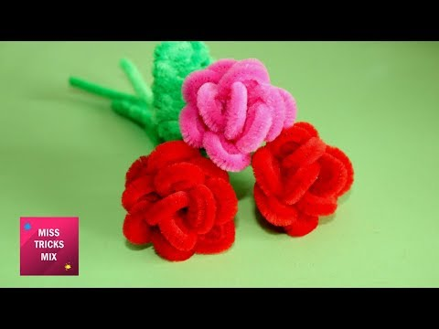 DIY : How To Make A Rose Using Pipe Cleaner / Spring Crafts