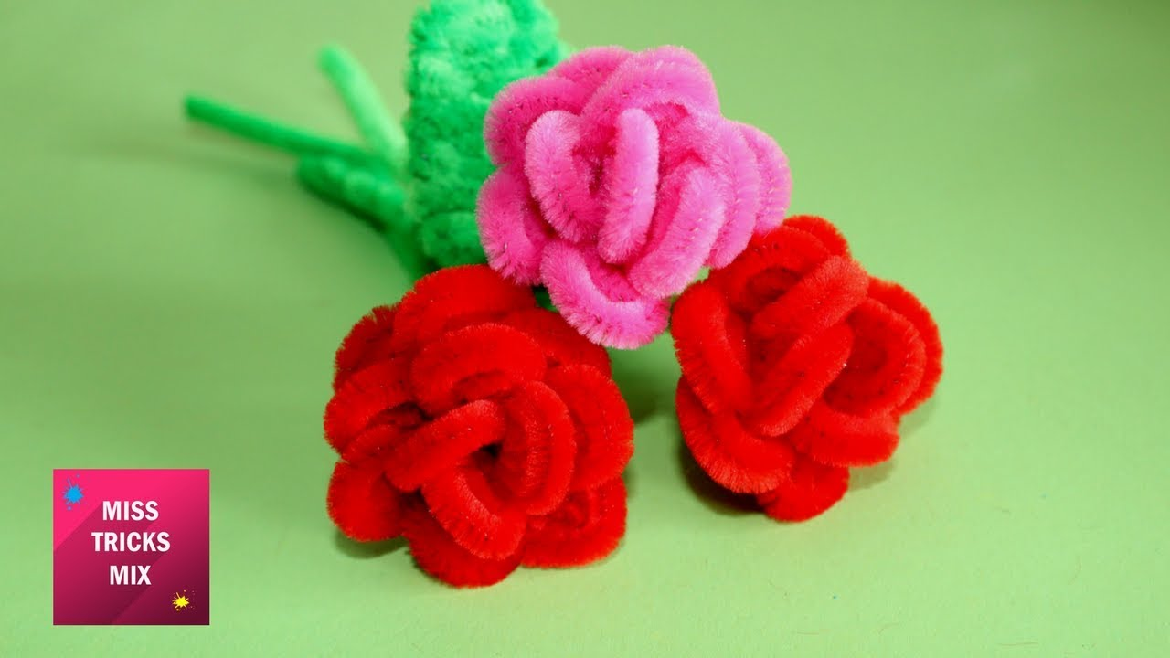 Diy How To Make A Rose Using Pipe Cleaner Spring Crafts Youtube