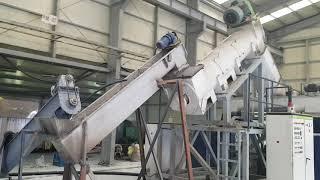 폐합성수지 파쇄-세척-고마찰탈수-성형(펠렛)생산 설비