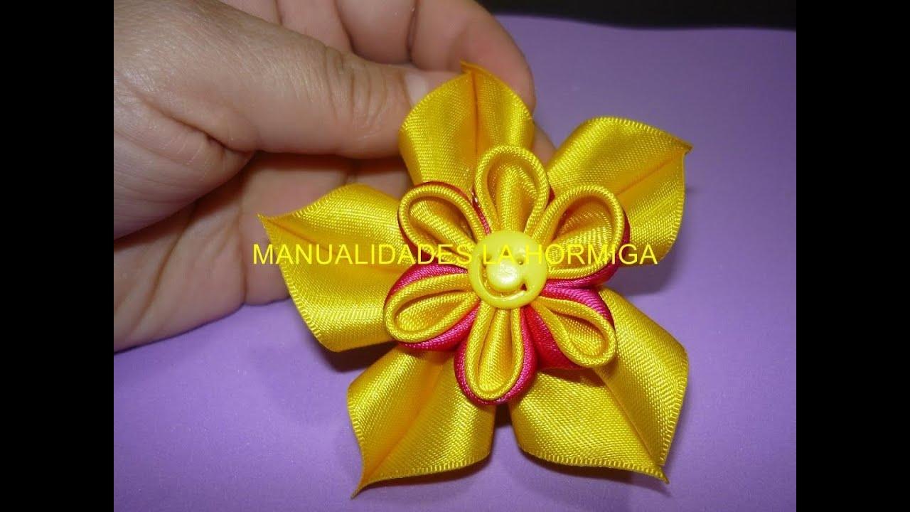 Como elaborar flores kanzashi dobles how to make double - Flores de telas hechas a mano ...