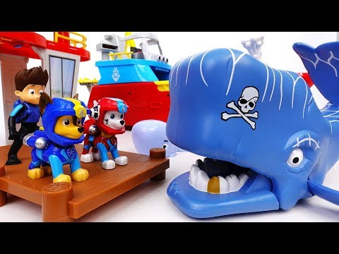 Thumbnail: Scary Whale Is Attacking A Motorboat~! Go Go Paw Patrol, Rescue Mission With Jet Skis - ToyMart TV