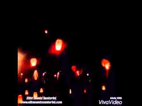 Flying wish wedding lanterns in Santorini, Greece
