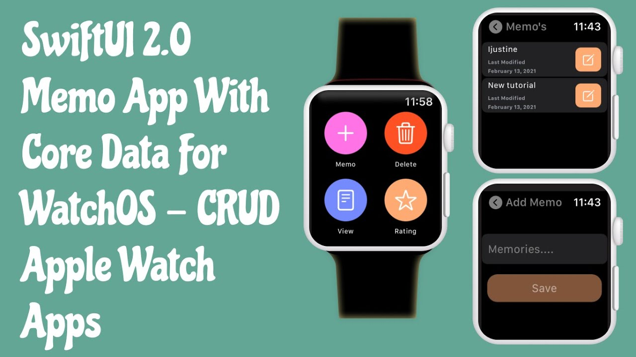 SwiftUI 2.0 Memo App With Core Data For WatchOS - CRUD Operations - Apple Watch Apps - SwiftUI