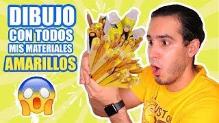 DIBUJO CON TODOS MIS MATERIALES DE COLOR AMARILLO ! Marcadores, Lapices, Acuarelas, etc