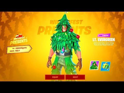 HOW TO GET FREE SKIN In Fortnite! *WINTERFEST REWARDS & PRESENTS REVEALED* LT. Evergreen Skin