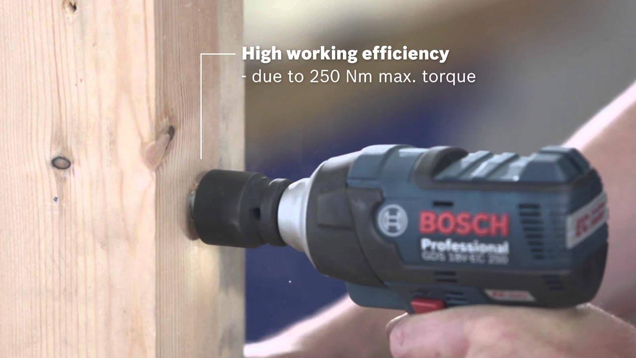 bosch cordless impact wrench gds 18 v ec 250 professional youtube. Black Bedroom Furniture Sets. Home Design Ideas