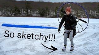 Launching my paramotor on ICE SKATES!!!