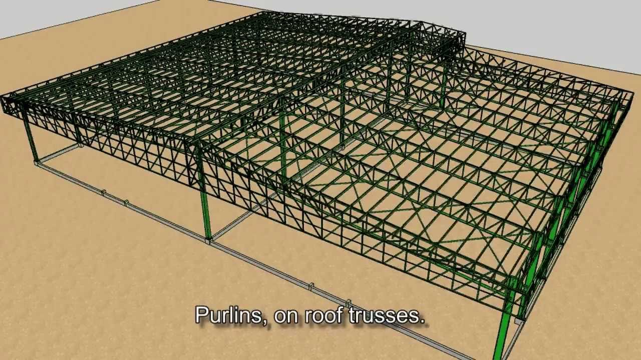 sketchup animation steel framing of a warehouse improved
