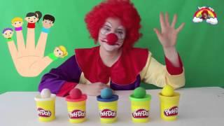 funny clown finger family play doh ball