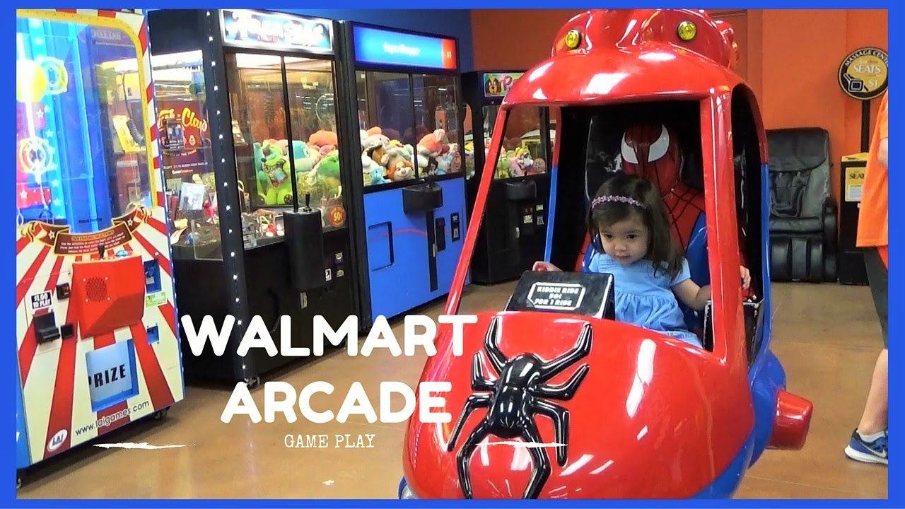 Walmart Arcade Game Play Kiddie Spider Man Rides Huge Surprise Eggs Cars  and More