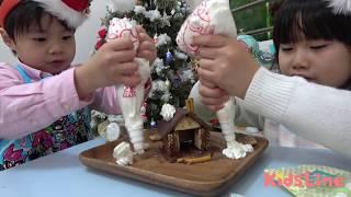 ロッテのお菓子の家キットでお菓子の家を作り、ホイップクリームやサン...