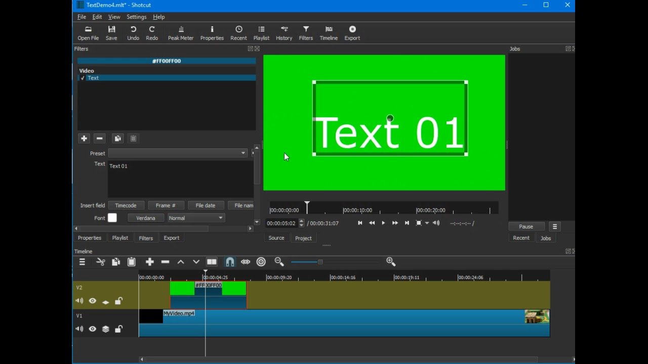 Shotcut video editor: Adding texts with fade in and fade out