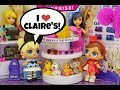 LOL Surprise Dolls Go Shopping at Claire s     Lip Gloss Haul     LOL Doll Story