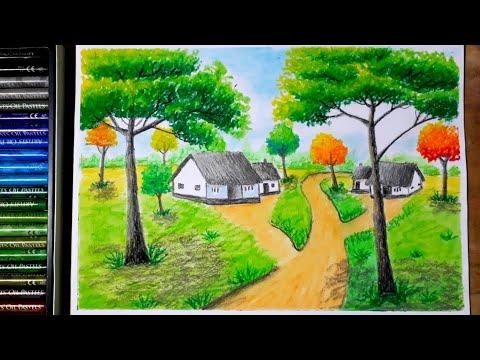 Cách vẽ tranh phong cảnh quê hương em bằng màu sáp dầu trên giấy A4