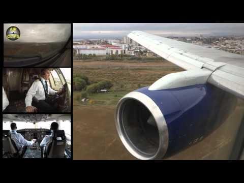 Azerbaijan Airlines B757 Landing Nakhchivan RB211 Engine view! [AirClips]
