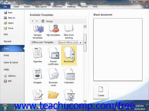 Word 2010 Tutorial Using Templates 2010 Microsoft Training Lesson
