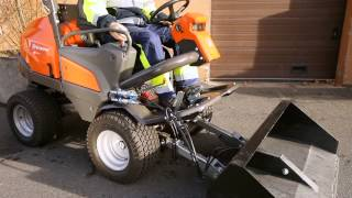 Learn how to attach a utility bucket to a Husqvarna P 525D Front Mower