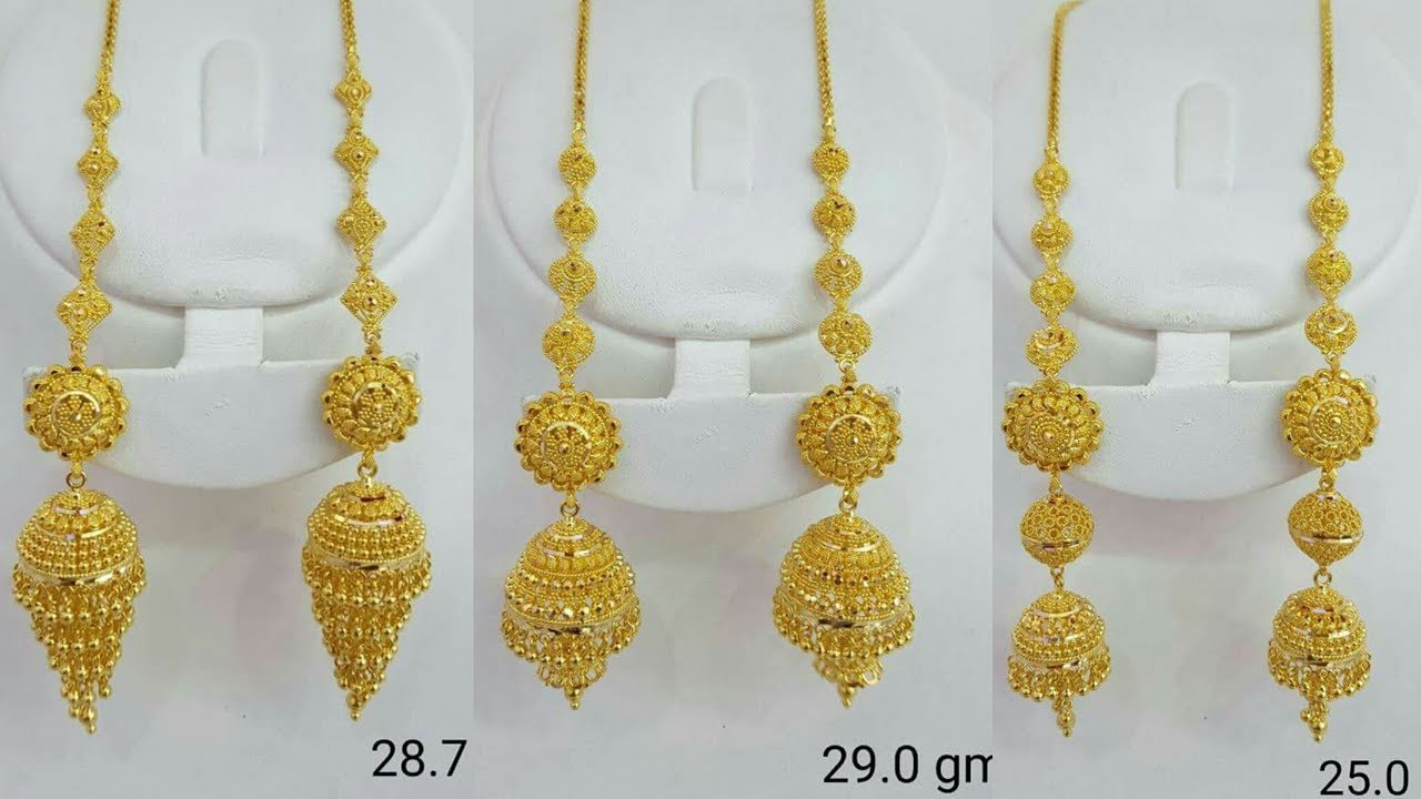Gold Chain Jhumka Earrings Designs With Weight