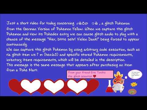 ♂ëôp ゥë F4s bad Pokédex entry in German Pokémon Yellow text to speech