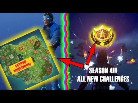 FORTNITE SEASON 4 ( All Challenges Complete! Search FORTNITE Letters!) Tomato Town Map!