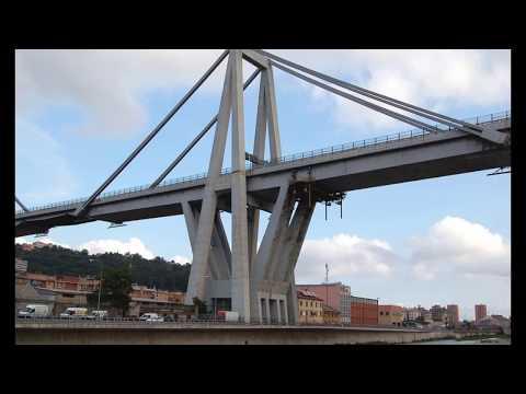 Polcevera , beautiful stream in Liguria, Italy, Polcevera a Genova, Ponte Morandi