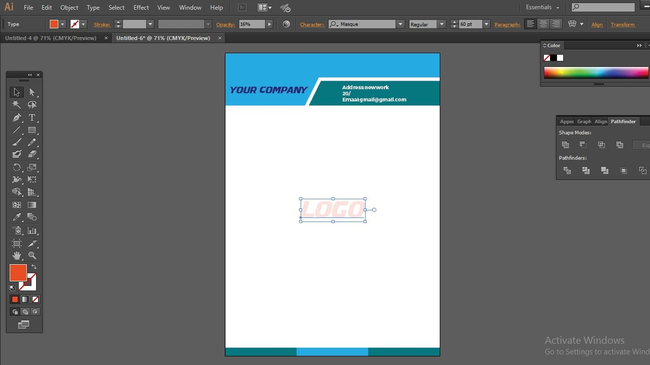how to make professional business letterhead design in adobe