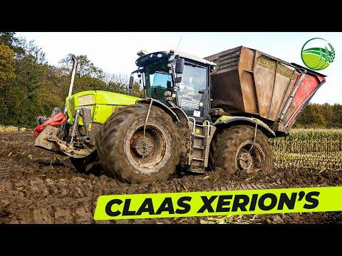 CLAAS Xerion Motorsound   CLAAS Jaguar 960 TT häckselt Mais   Lohnunternehmen Bahnsen Reh