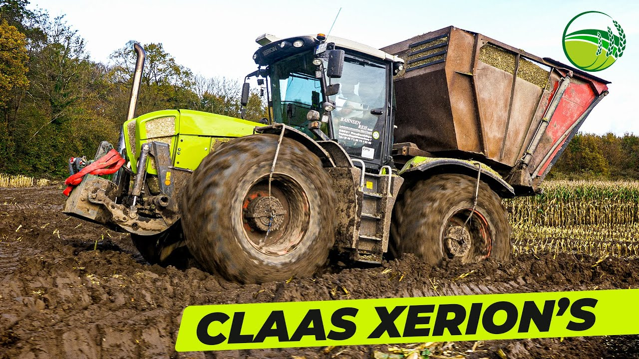 CLAAS Xerion Motorsound | CLAAS Jaguar 960 TT häckselt Mais | Lohnunternehmen Bahnsen Reh