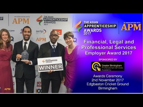 Finance Legal & Professional Services Employer Award - The Asian Apprenticeship Awards 2017