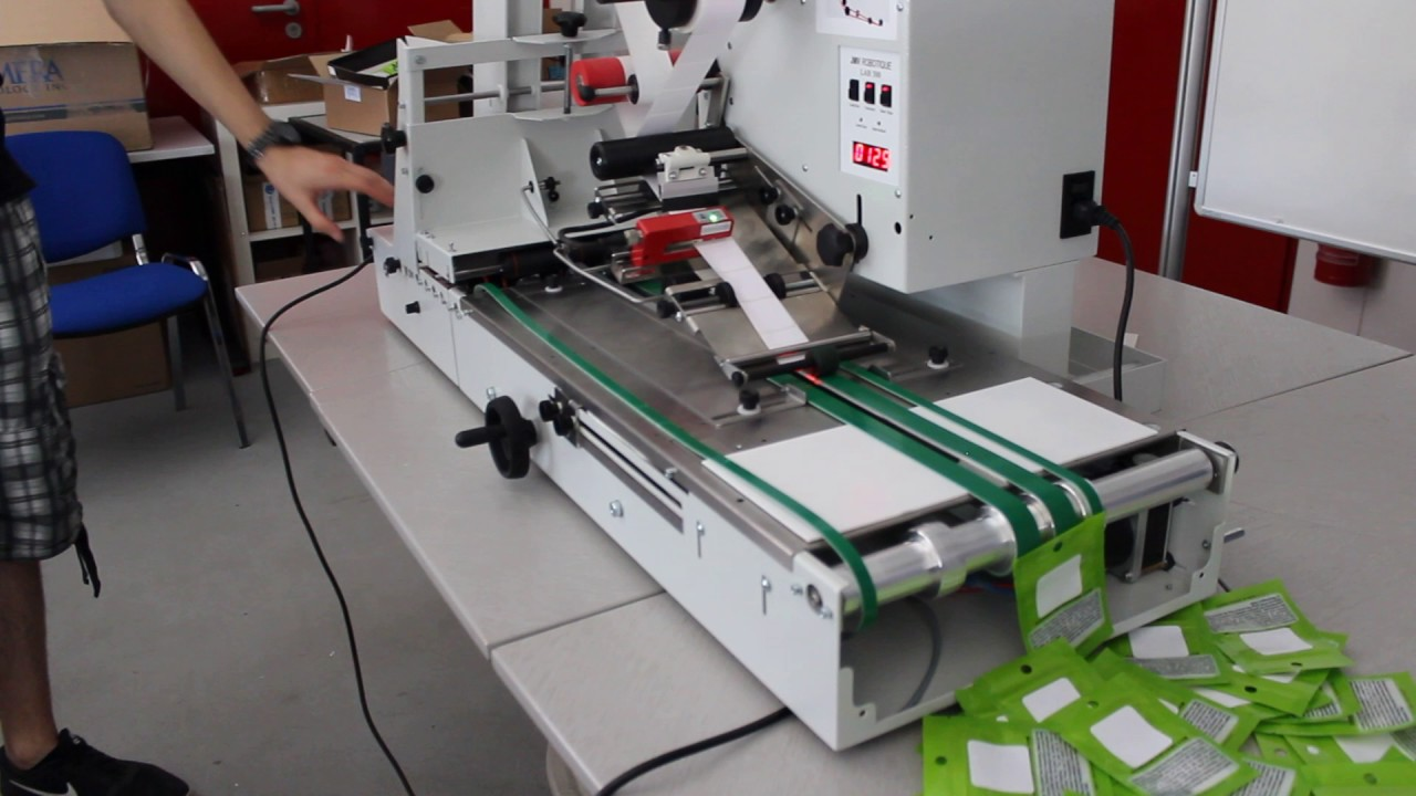 LAB510THC - Automatic Labeler for Marijuana Pouches, Ziplocks and Mylar  Baggies