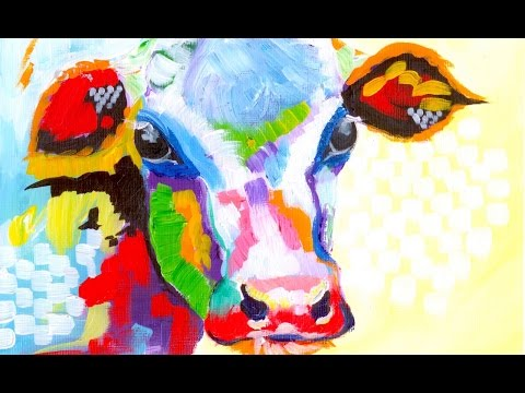 Colorful Cow Painting | Acrylic Tutorial | Beginner Abstract lesson