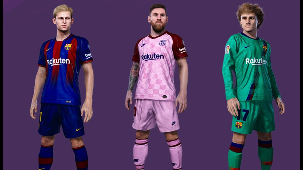 PES 2019 BARCELONA KITS 2020/ 2021 OFFECIAL V1 - YouTube