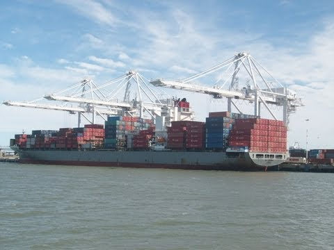 Bay Area Container Ship Spotting - Bay Bridge (K-Line) at Port of Oakland  June 18, 2013