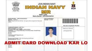 Indian Navy MR, Admit Card 2019