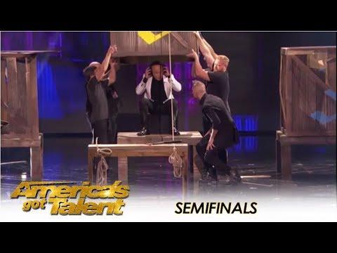 Aaron Crow: Nearly Has Simon KILL Howie Mandel In Dangerous Stunt | America's Got Talent 2018