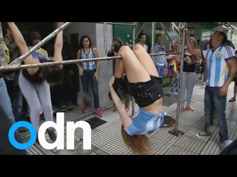 Pole dancers hit the street in Buenos Aires