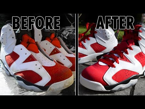 HOW TO: CLEAN JORDAN 6 RETRO CARMINE (CREP PROTECT CURE)