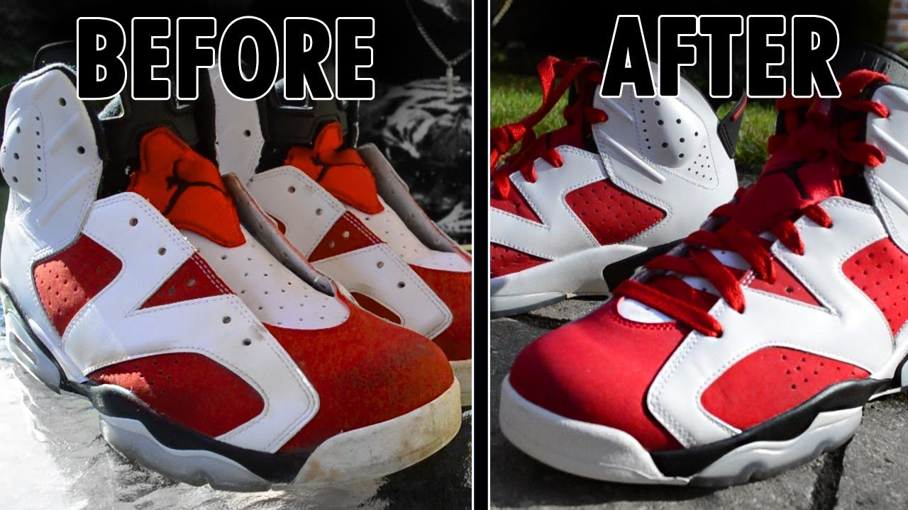 a633748216d951 HOW TO  CLEAN JORDAN 6 RETRO CARMINE (CREP PROTECT CURE) - YouTube