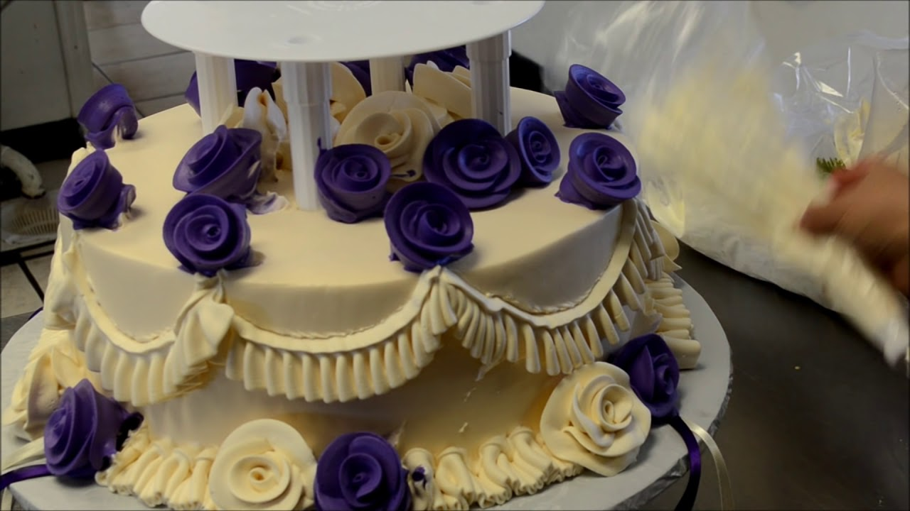 How to Design a Two Tier Wedding Cake with open Pillars - YouTube